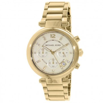 Michael Kors Ladies Parker Chronograph Watch Stainless Steel Gold Dial MK5701