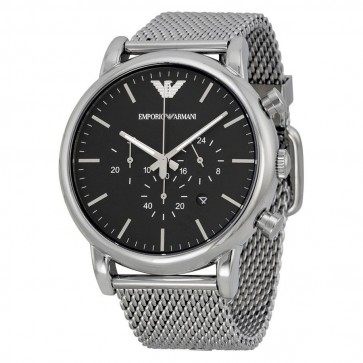 Emporio Armani Mens Chronograph Watch Stainless Steel Mesh Bracelet AR1808
