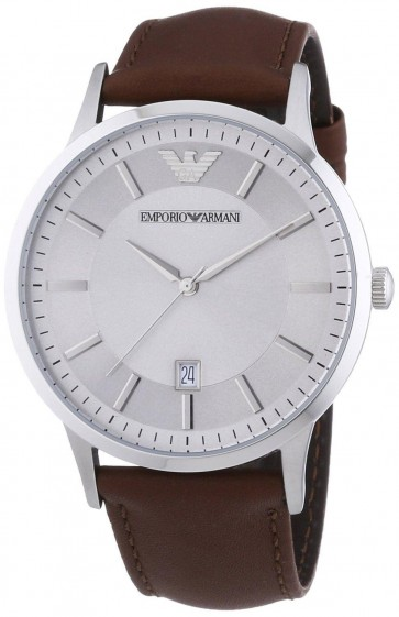 Emporio Armani Mens Stainless Steel Brown Leather Strap Silver Dial AR2463