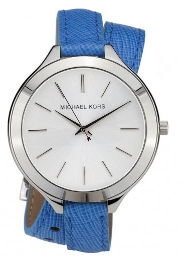 Michael Kors Ladies Watch Slim Runway Double Vachetta Blue Strap MK2331
