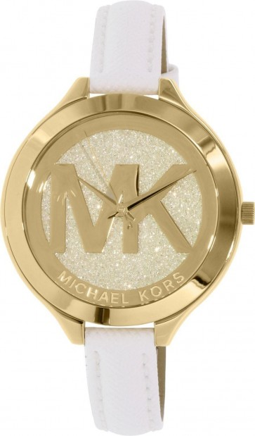 Michael Kors Thin Runway Ladies Watch Gold Dial MK Logo White Strap MK2389