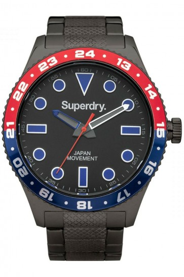 Superdry Mens Gents Retro Sport Watch Black Stainless Steel Strap SYG143BM