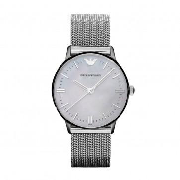 Emproio Armani Ladies Watch Silver Mesh Bracelet White Dial AR1631