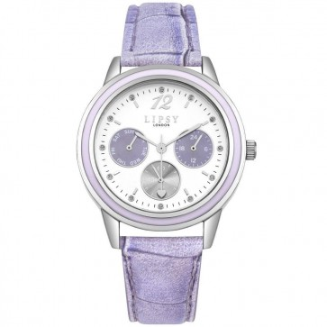Lipsy Womens Ladies Wrist Watch Lilac Strap Silver Face SLP006V