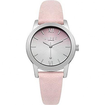 Lipsy Ladies Watch Pink Leather Strap Silver Dial SLP004P