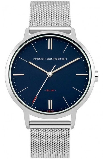 French Connection Mens Watch Silver Dial  Blue Face Mesh Strap FC1263USM