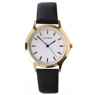 Sekonda Mens Watch Black Leather Strap White Dial 3136