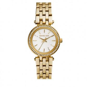 Michael Kors Ladies Darci Petite Wrist Watch Gold Bracelet White Face MK3325