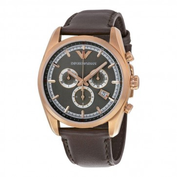 Emporio Armani Mens Chronograph Watch Brown Leather Strap Grey Dial AR6005