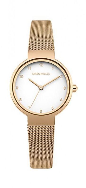 Karen Millen Womens Watch White Face Rose Gold Strap KM160RGM