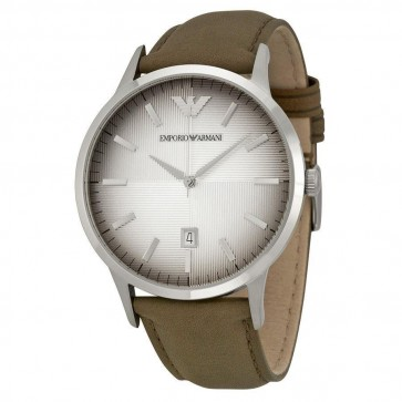 Emporio Armani Mens Watch Brown Leather Strap Beige Dial AR2470