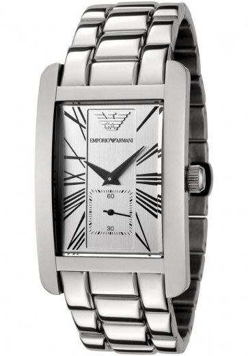 Emporio Armani Mens Stainless Steel Bracelet Watch Silver Dial AR0145