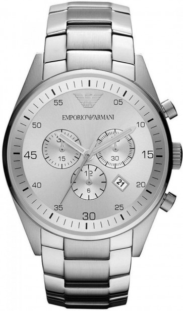 Emporio Armani Mens Chronograph Watch Stainless Steel Strap Silver Dial AR5963
