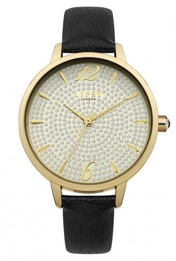 Lipsy Ladies Champagne Gold Wrist Watch Pave Glitter Dial Black Strap LP496