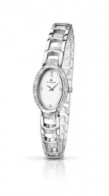 Accurist Ladies London Watch White Dial Stainless Steel Bracelet 8034