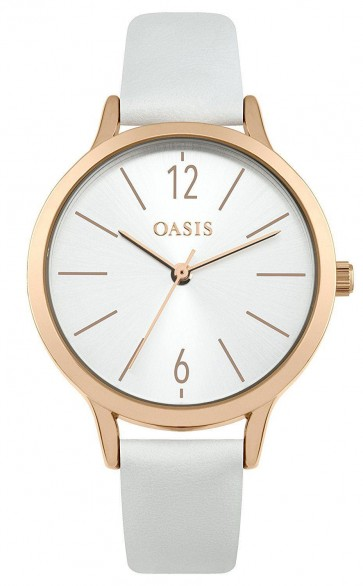 Oasis Womens Ladies Wrist Watch Silver Face White Strap  SB009W