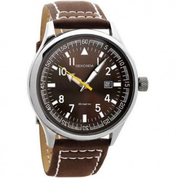 Sekonda Mens Gents Wrist Watch Brown Leather Strap Dial 3882