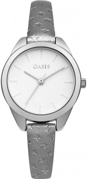 Oasis Womens Ladies Wrist Watch White Face Silver Leather Strap  B1598