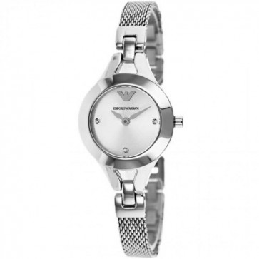 Emporio Armani Ladies Watch Stainless Steel Mesh Bracelet Silver Dial AR7361