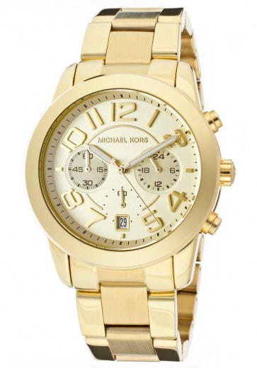 Michael Kors Mercier Ladies Chronograph Watch Gold PVD Bracelet Champage Dial MK5726