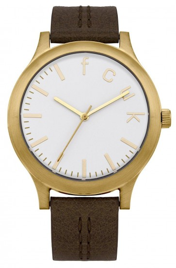 French Connection Womens Watch White Dial Brown Leather Strap FC1138TG