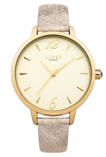 Lipsy Womens Quartz Wrist Watch Gold Dial Display Beige Strap LP459