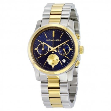 Michael Kors Ladies Runway Chronograph Watch Two Tone PVD Blue Dial MK6165