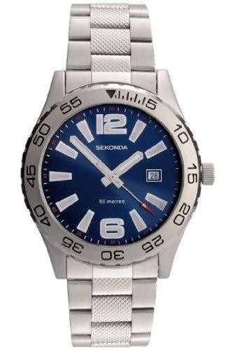 Sekonda Mens Watch Stainless Steel Bracelet Blue Dial 3253