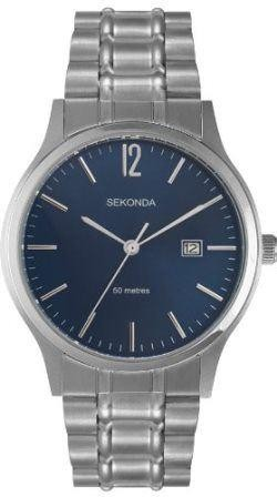Sekonda Mens Gents Quartz Watch Blue Face Silver Stainless 3728