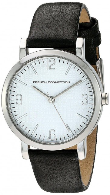 French Connection Womens Wrist Watch Silver Dial Black Leather Strap FC1249BA