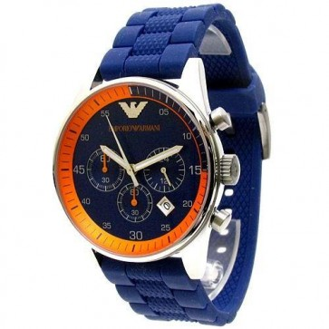 Emporio Armani Mens Chronograph Watch Blue Rubber Strap Blue Dial AR5864