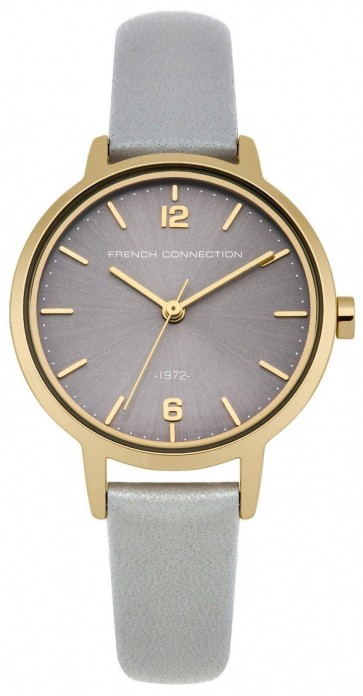 French Connection Womens Ladies Wrist Watch Grey Leather Strap FC1280EG