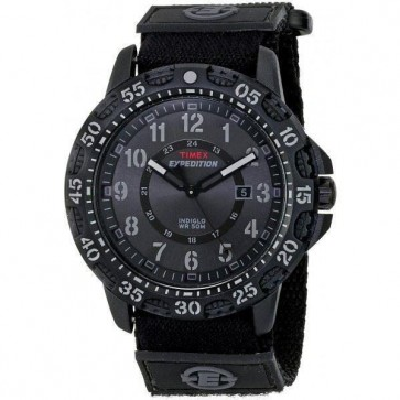 Timex Mens Indiglo Expedition Watch Black Strap Black Dial T49997