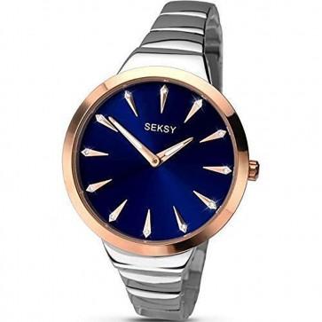 Sekonda Ladies Womens Wrist Watch Silver Bracelet Blue Face 2216
