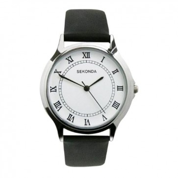 Sekonda Mens  Watch Black Leather Strap White Dial SK3022
