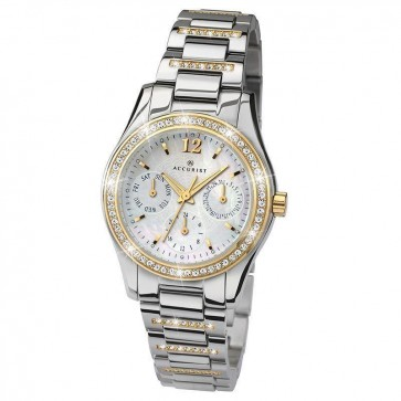 Accurist Ladies Watch White Mother of Pearl Dial Stainless Steel Bracelet 8054