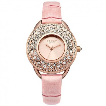 Lipsy Womens Quartz Watch Rose Gold Dial Analogue Display Pink Polyurethane Strap LP446