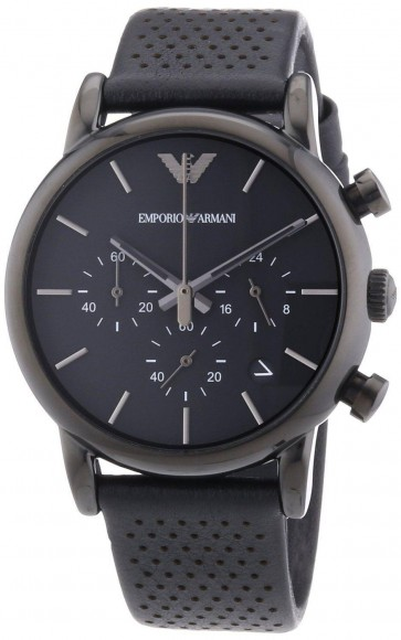 Emporio Armani Mens Classic Black Leather Chorograph Watch AR1737