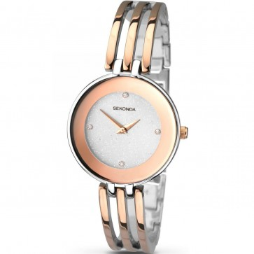 Sekonda Ladies Womens Wrist Watch Gold Two Tone Strap White Face 2107