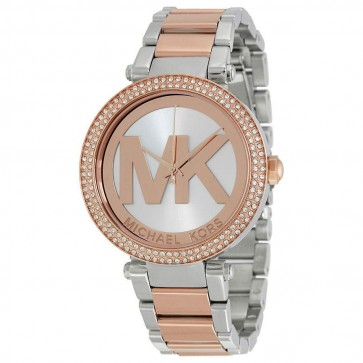 Michael Kors Ladies Parker Watch Two Tone Bracelet Silver Dial MK6314
