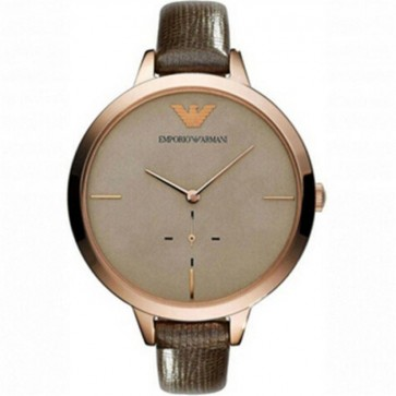 Emporio Armani Ladies Watch Brown Leather Strap Gold Dial AR7306