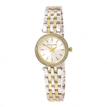 Michael Kors Ladies Darci Petite Wrist Watch Gold Bracelet Silver Face MK3323