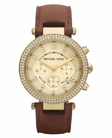 Michael Kors Ladies Parker Chronograph Watch Gold Tone Strap MK2249