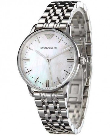 Emporio Armani Ladies Watch Silver Bracelet White Dial AR1602