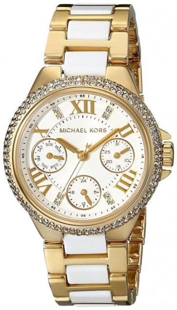 Michael Kors Ladies Watch Cream Dial Gold PVD and White Braclelet MK5945