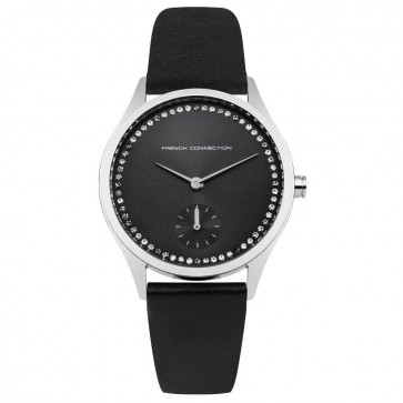 French Connection Womens Ladies Wrist Watch Black Strap Face FC1272BB