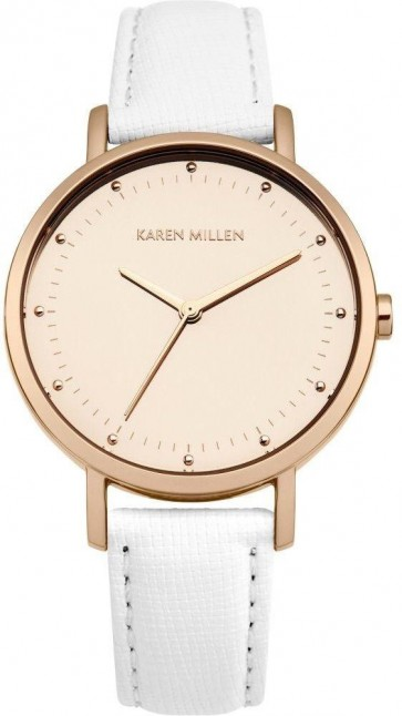 Karen Millen Womens Quartz Watch White Leather Strap KM139WRG