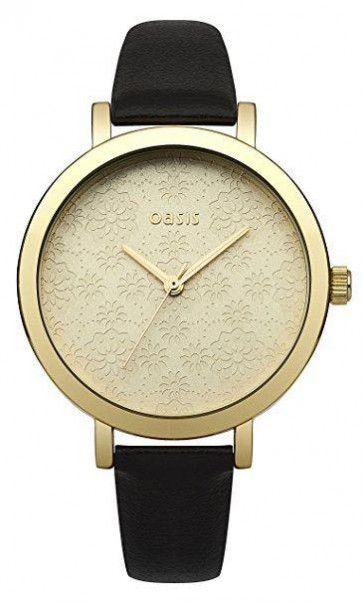 Oasis Womens Ladies Watch Black Leather Strap Gold Dial B1544