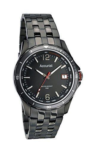 Accurist Mens Watch Black Dial Black Ion Plated Stainless Steel Case and Bracelet MB1124B