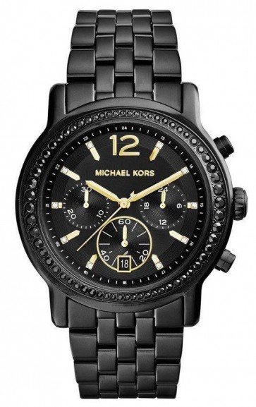 Michael Kors Baisley Ladies Chronograph Watch Black Bracelet Black Dial MK5984